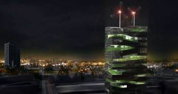 Chris Jacobs design for a Vertical Farm tower at night.